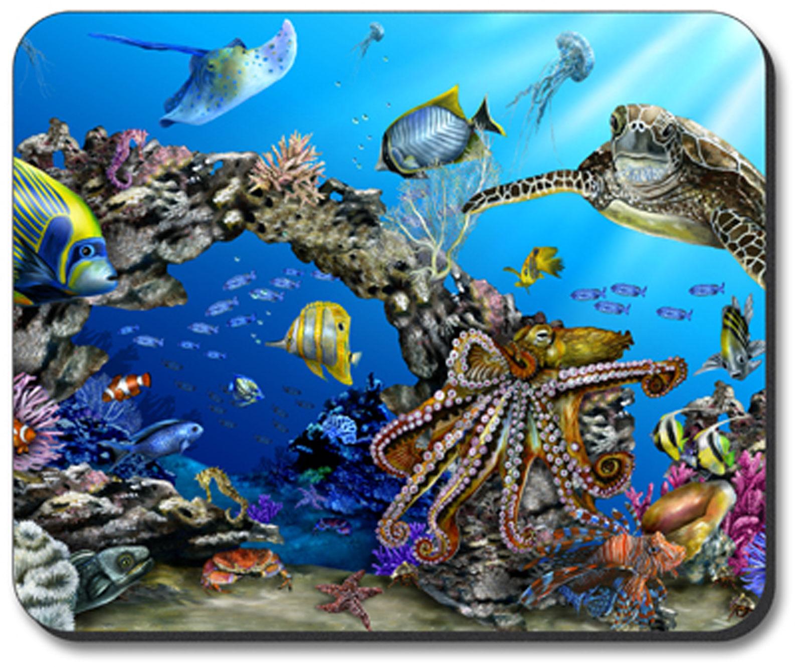 Art Plates Tropical Reef Sea Life Laptop Computer Mouse Pad