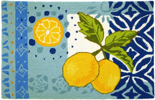 about yellow lemons with pretty blues kitchen mat area accent rug