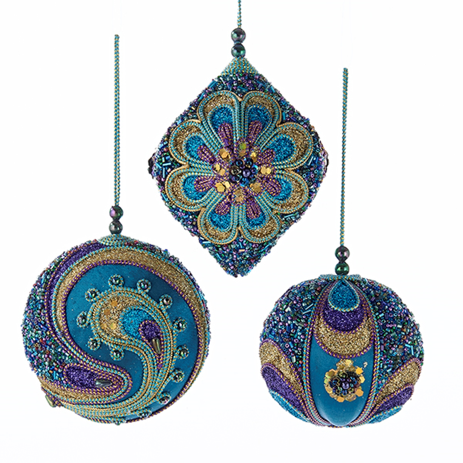 Teal purple and gold beaded christmas holiday ornaments for Small gold christmas ornaments