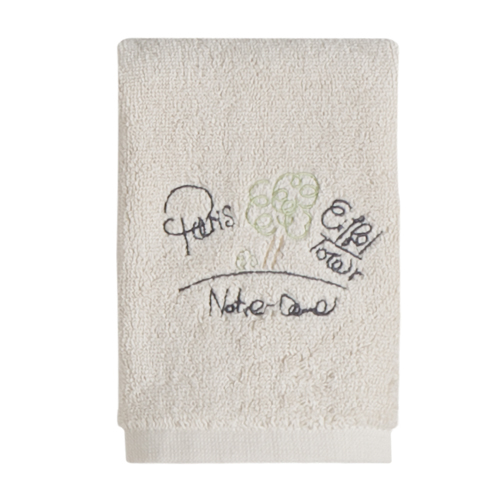 I Love Paris Chic Embroidered Bathroom Wash Cloth