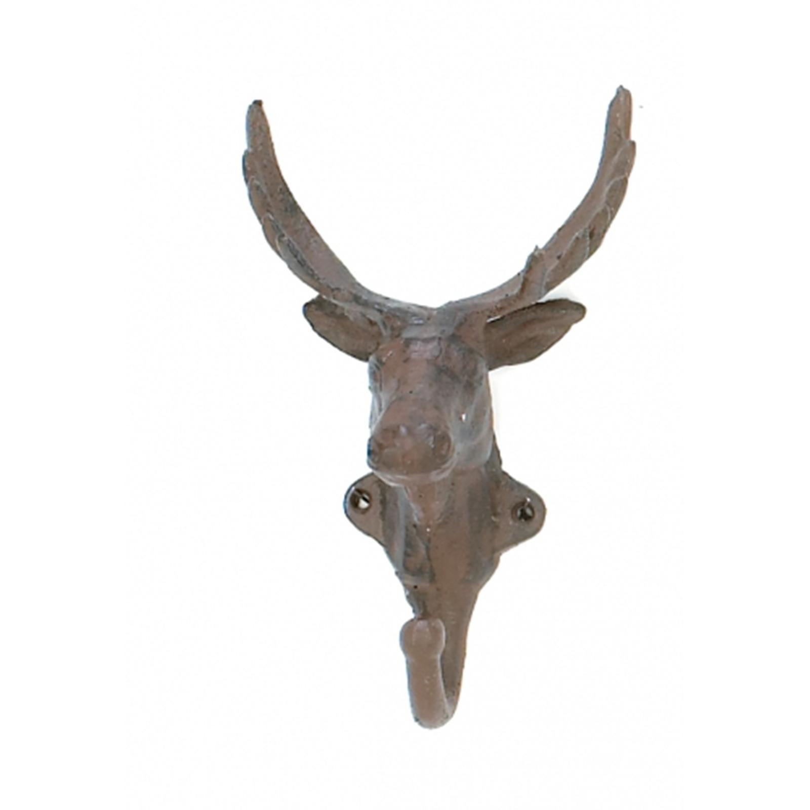 Wall Decoration Deer Head : Antique vintage look cast iron deer head hunter single