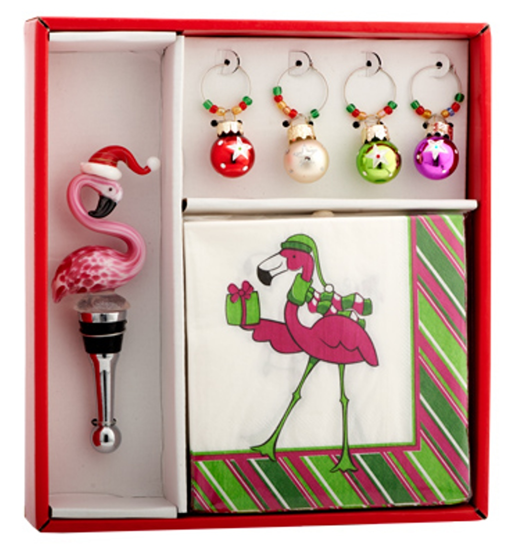 Christmas Holiday Hostess Set Flamingo Santa Bottle Topper Wine Charms Napkins
