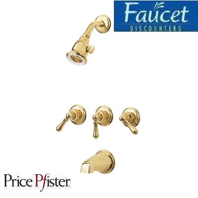 Pfister Polished Brass 3 Handle Tub Shower Faucet EBay