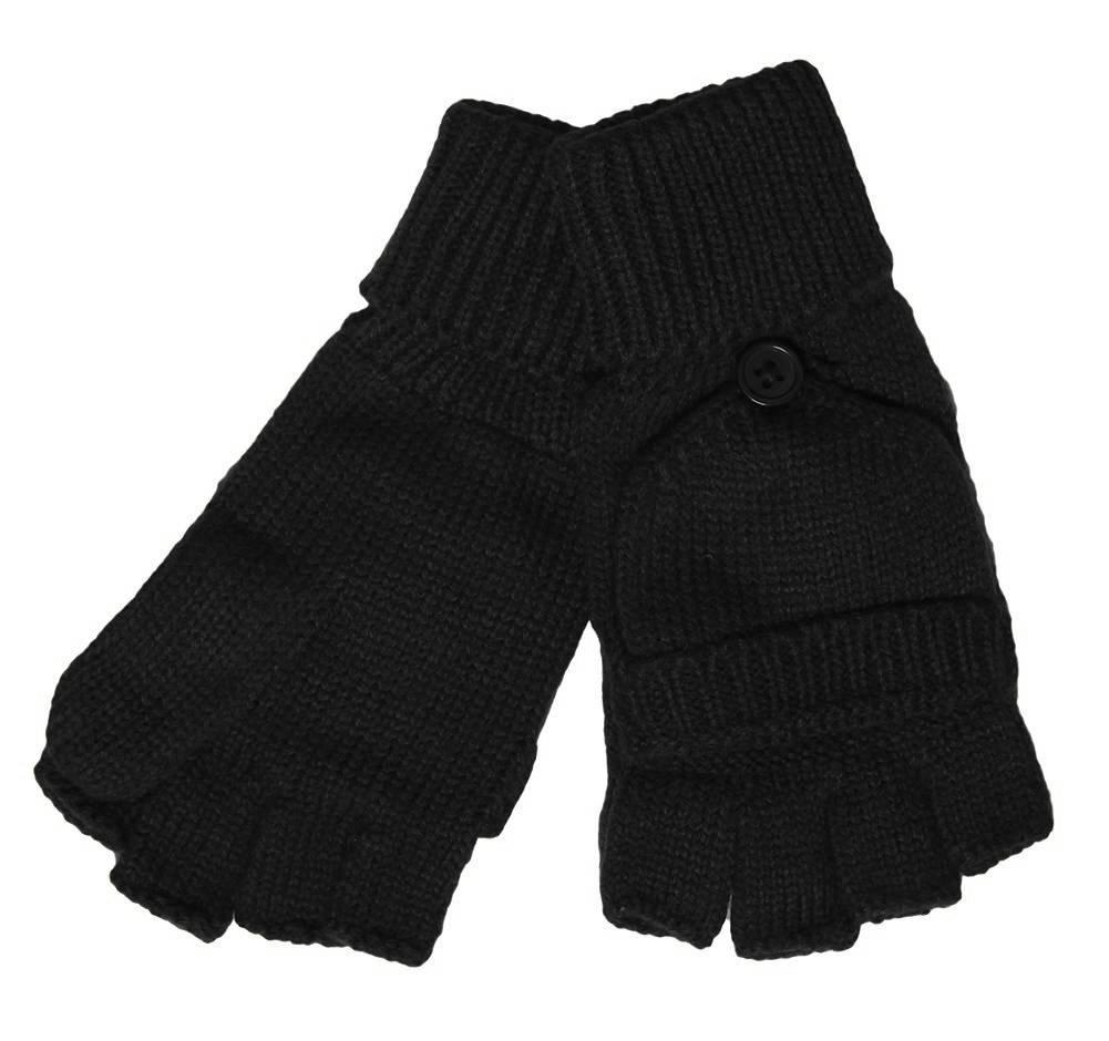 Winter Fingerless Flap Knit Mitten Gloves eBay