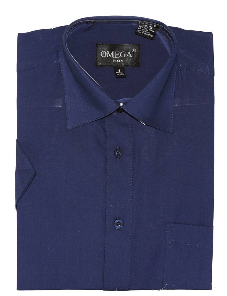 Omega Mens Dress Shirt Short Sleeve Button Up Shirt
