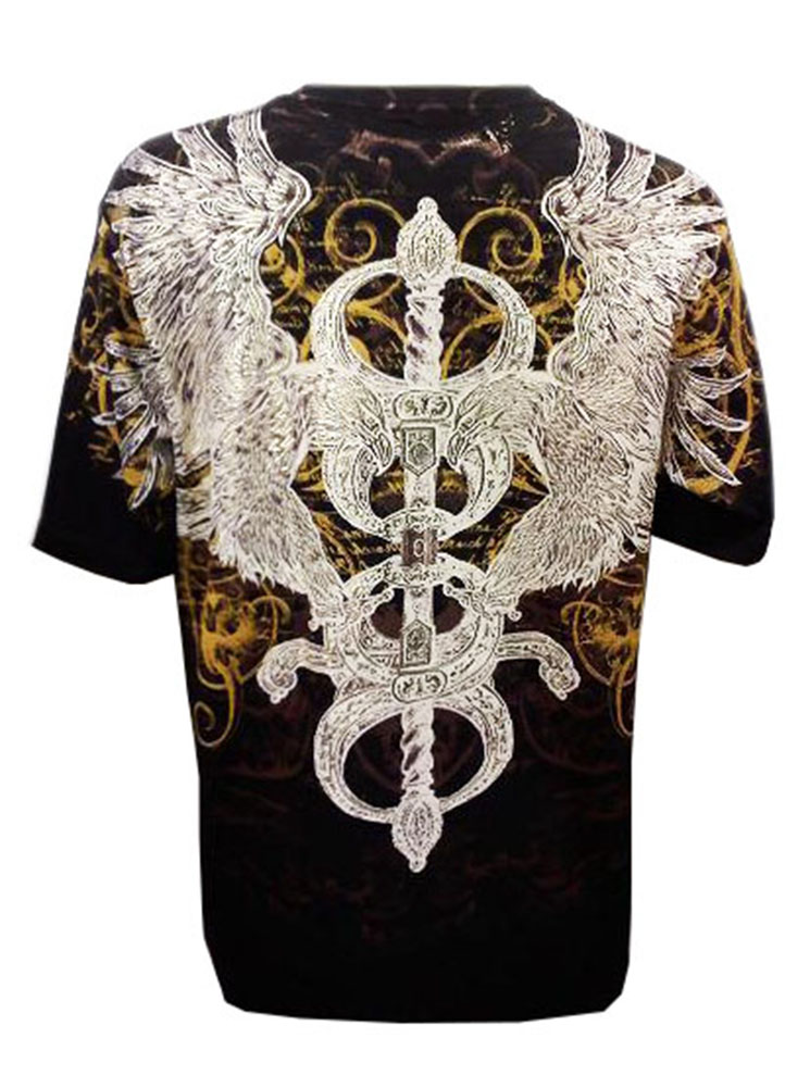 Eagle and Sword Metallic Gold Embossed Cotton Mens Heavyweight T-Shirt
