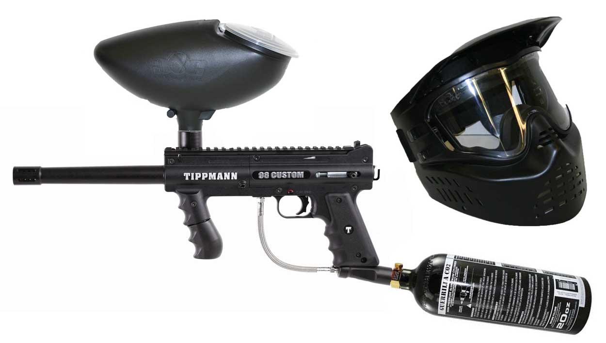 tippmann 98 custom paintball gun with co2 tankhoppermask