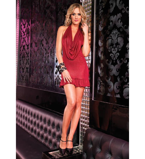 Leg Avenue Dress Shimmer Foil Halter Dress with Draped Bodice and Gathered Ruffle Trim at Sears.com
