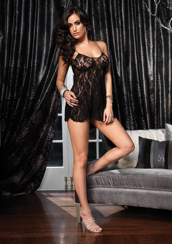 Leg Avenue Black 2 Piece Rose Lace Flared Chemise with Matching G-string (One Size) at Sears.com