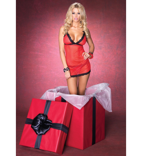 Leg Avenue Black Lace Trimmed Sheer Red Chemise & Matching G-string in Gift Box (One Size) at Sears.com