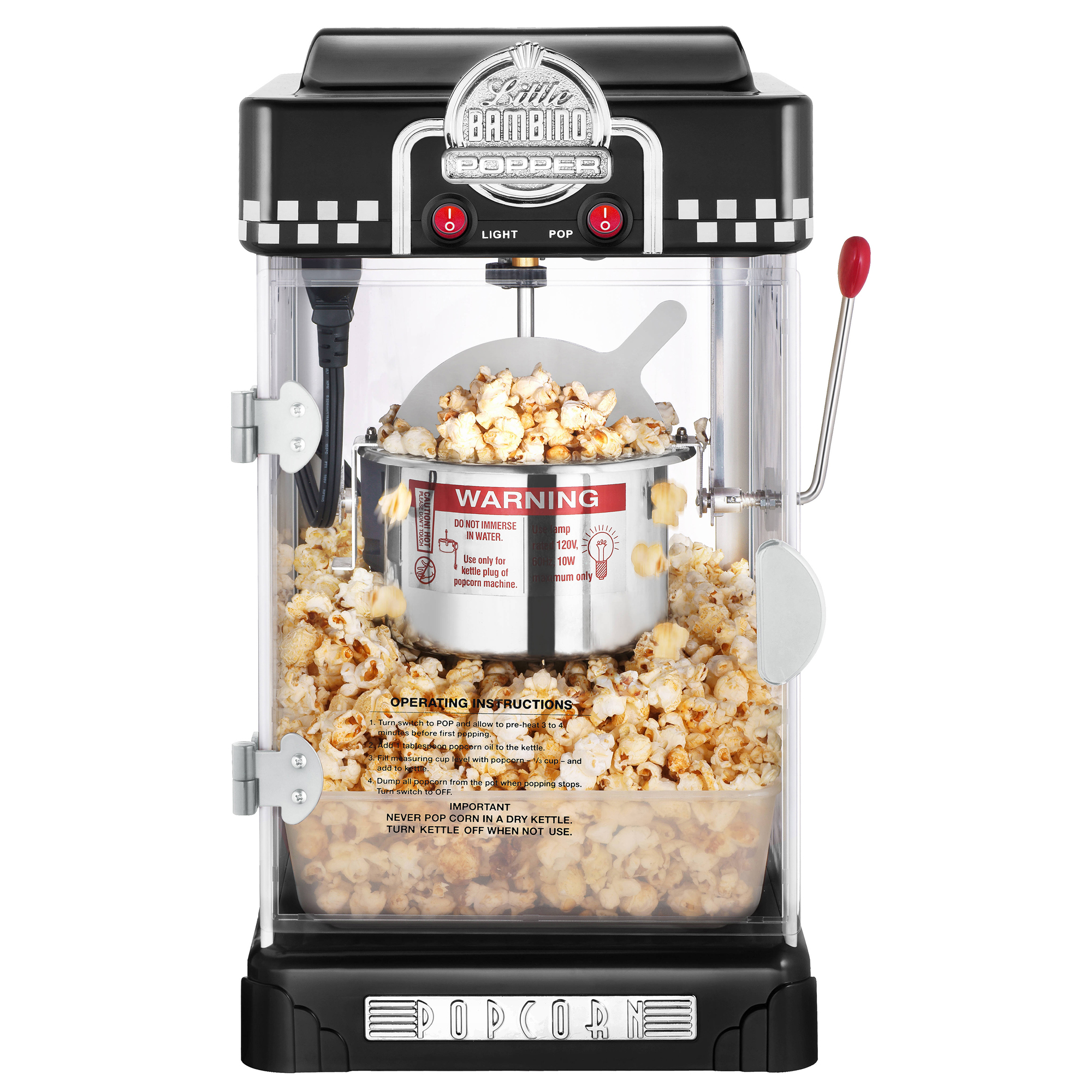 Bon Great Northern Black Little Bambino Table Top Retro Popcorn Popper 2.5oz    Great Northern Popcorn
