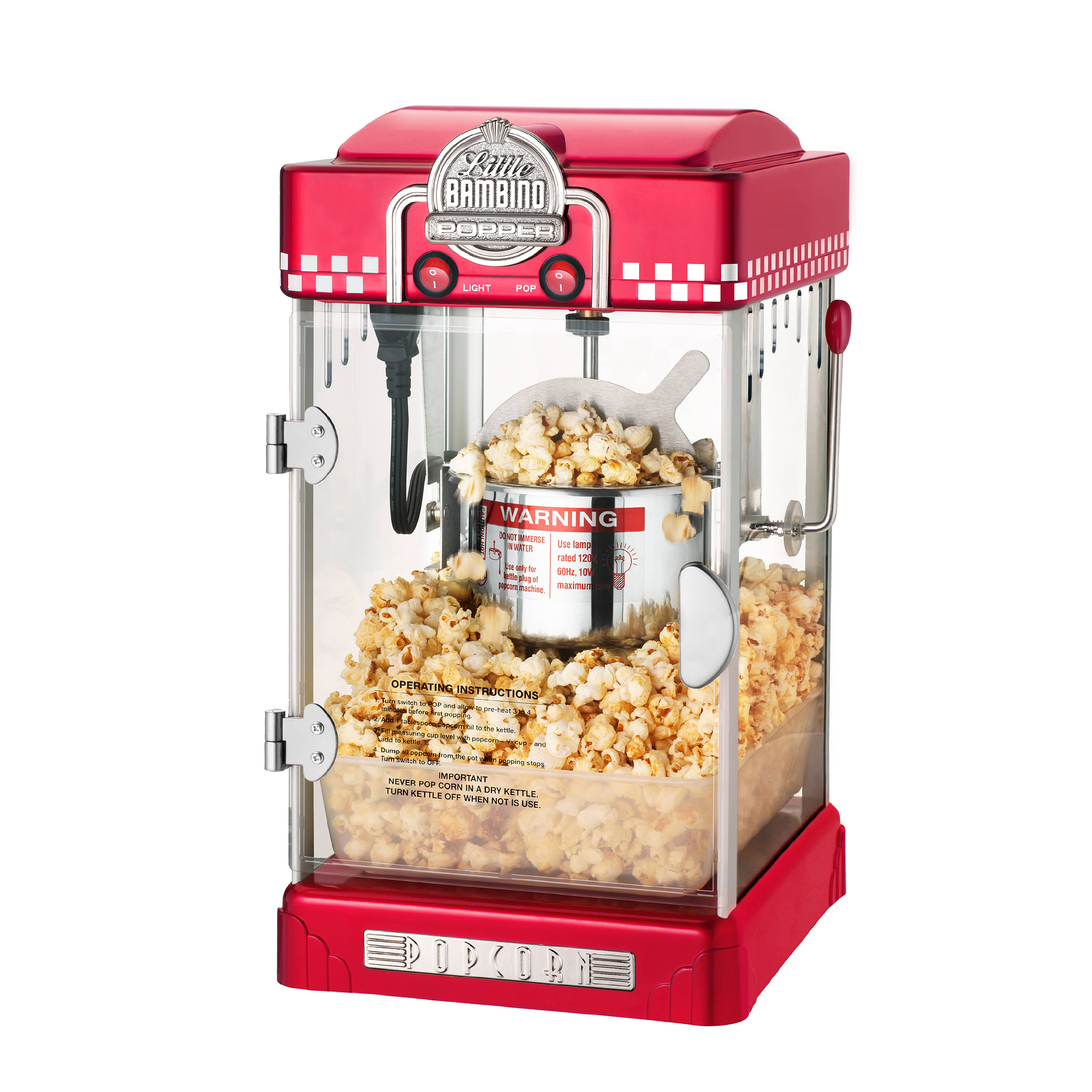 Beau Great Northern Red Little Bambino Table Top Retro Popcorn Popper, 2.5 Oz    Great Northern Popcorn