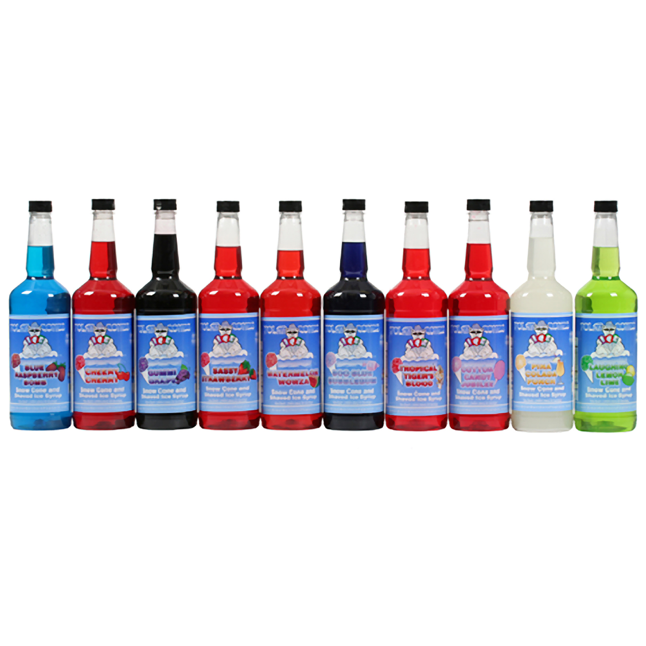 Polar Cones Premium 10 Flavor Combo Snow Cone & Shaved Ice Syrup ...