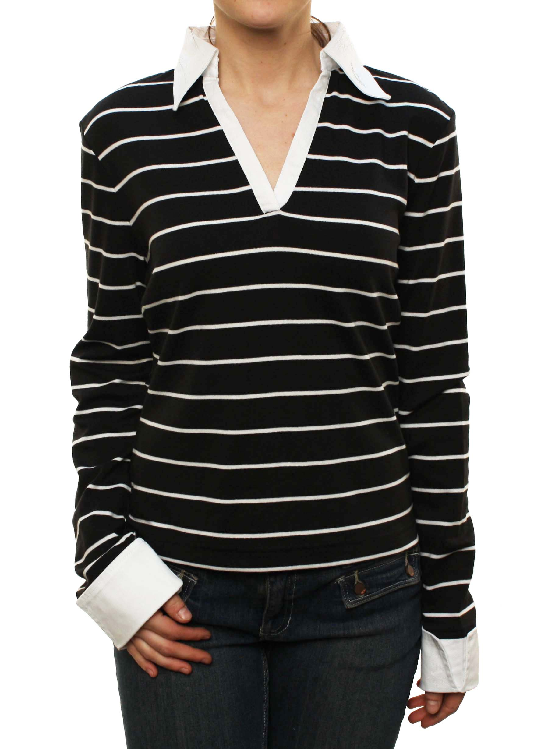 "Alpinestars Women's ""Stripe Shirt L/S T"" Mock Dress Sweater Black at Sears.com"