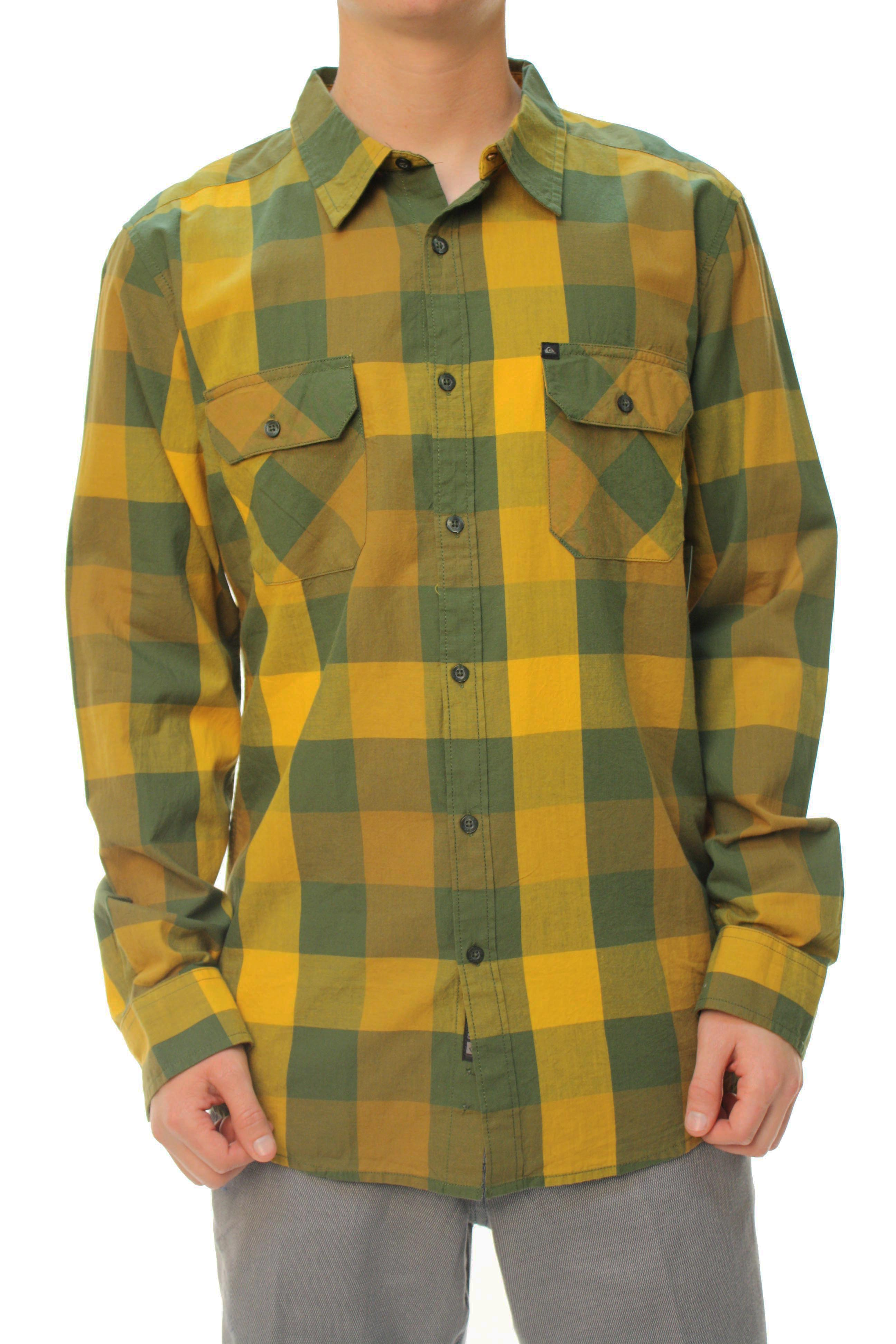 "Quiksilver Men's ""Buff Chip LS"" Button Down Casual Shirt Yellow & Green at Sears.com"