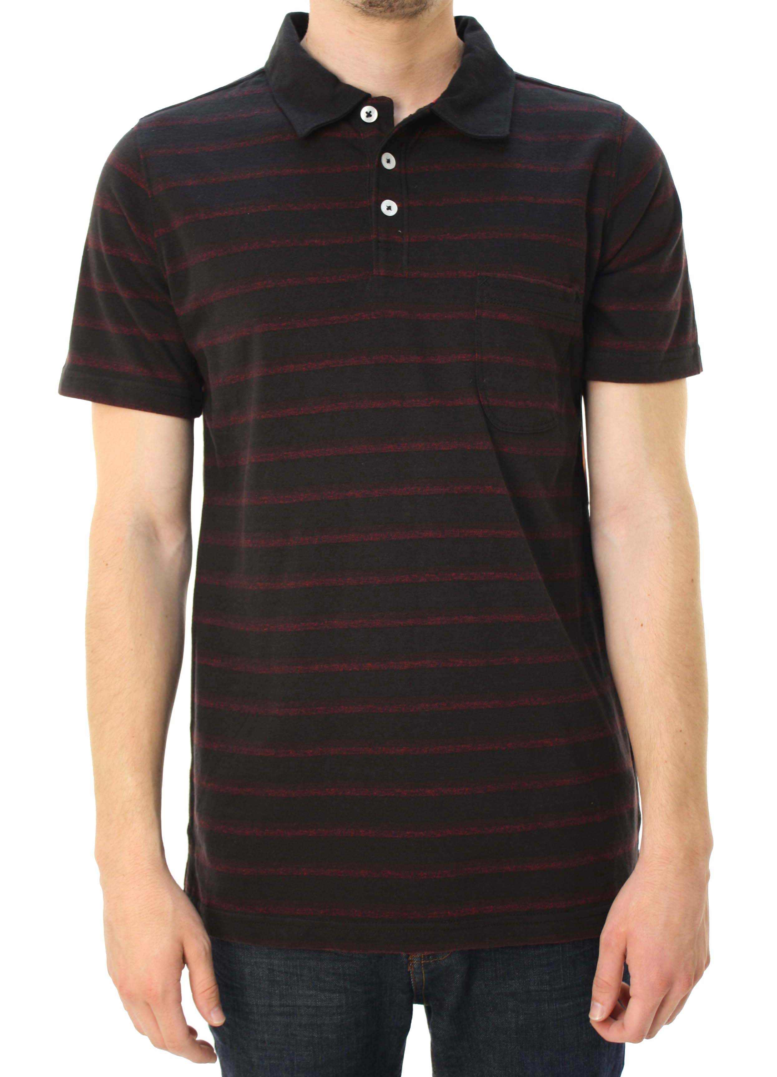 "Quiksilver Men's ""City Wave"" Short Sleeve Polo Shirt Black & Red Striped at Sears.com"