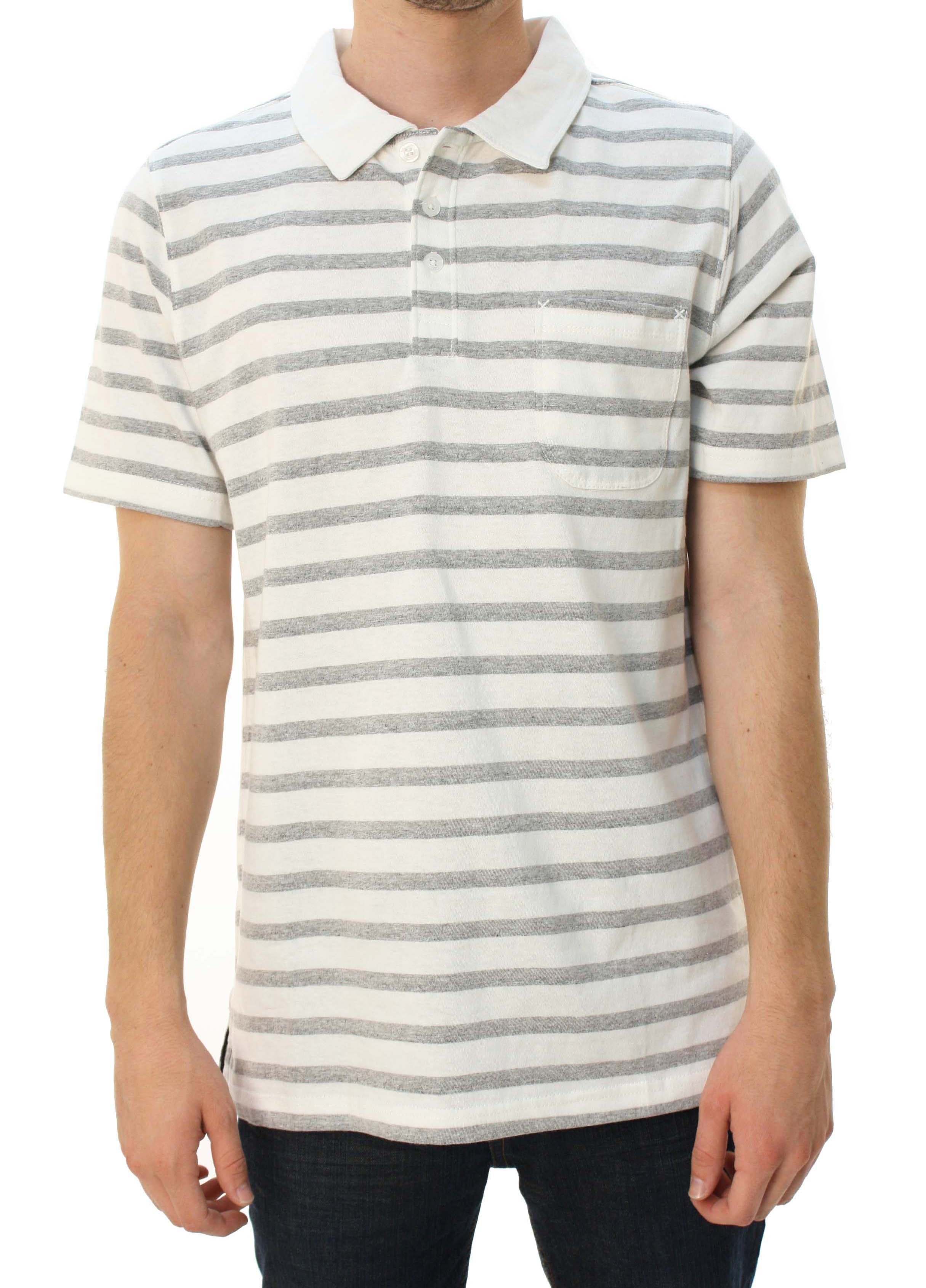 "Quiksilver Men's ""City Wave"" Short Sleeve Polo Shirt White & Gray Striped at Sears.com"