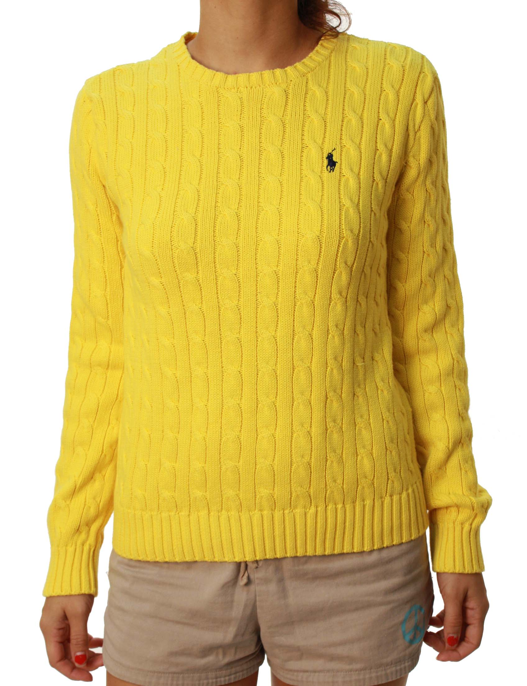 Ralph Lauren Polo Women's Crew Neck Long Sleeve Cable Knit Sweater