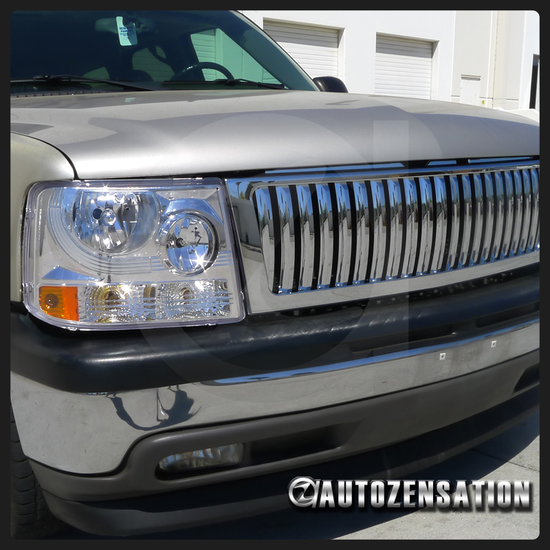00 06 suburban tahoe truck chrome clear headlights vertical front grille ebay