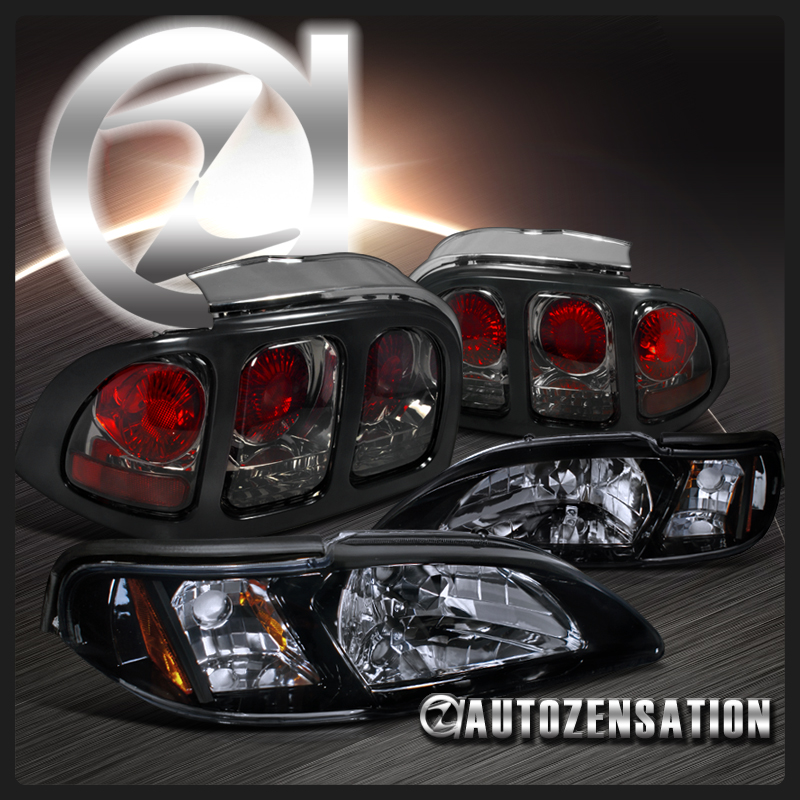 98 ford mustang glossy black headlight euro smoke tint tail lights 4pc. Black Bedroom Furniture Sets. Home Design Ideas