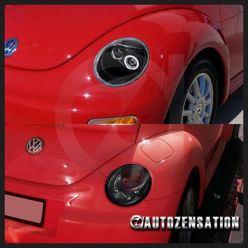 fit   vw beetle black halo led projector headlightssmoke tail brake lamps ebay