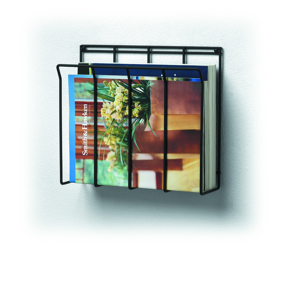 wall mount wire magazine rack newspaper caddy spectrum. Black Bedroom Furniture Sets. Home Design Ideas