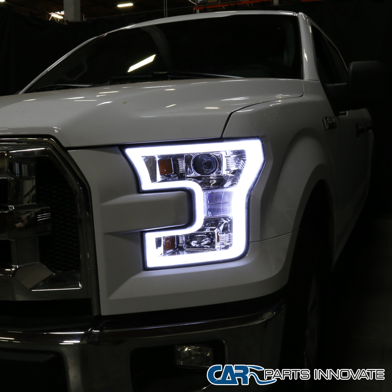 2015 2017 ford f150 chrome clear led rim drl bar projector headlights ebay. Black Bedroom Furniture Sets. Home Design Ideas