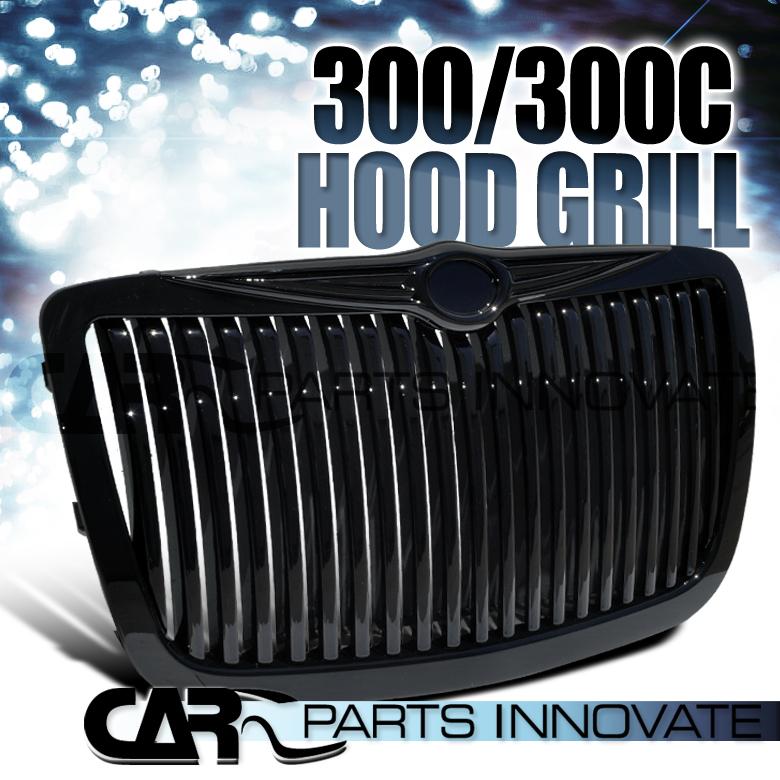 2005 2010 Chrysler 300 300c Shinny Black Vertical Front: 2005-2010 Chrysler 300 300C Front Black Vertical Hood