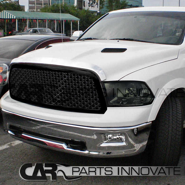 2009 2012 dodge ram 1500 smoke crystal headlights glossy. Black Bedroom Furniture Sets. Home Design Ideas