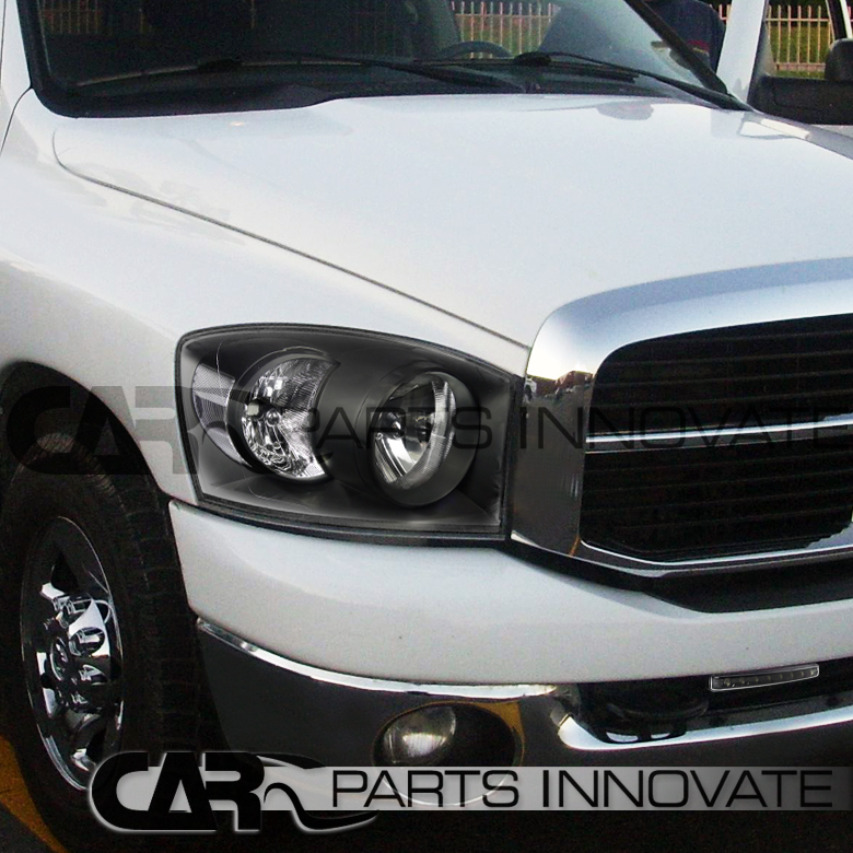 2006 2008 dodge ram 1500 2500 3500 crystal black headlight. Black Bedroom Furniture Sets. Home Design Ideas