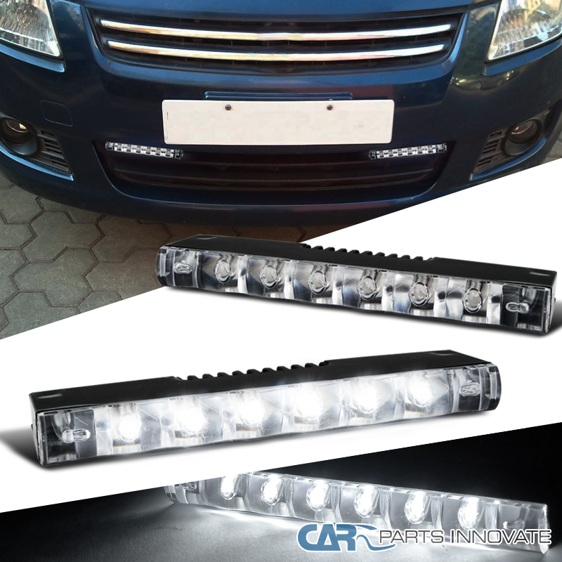 2x 6000k bright xenon white 6 led drl daytime running lights fog lamps. Black Bedroom Furniture Sets. Home Design Ideas