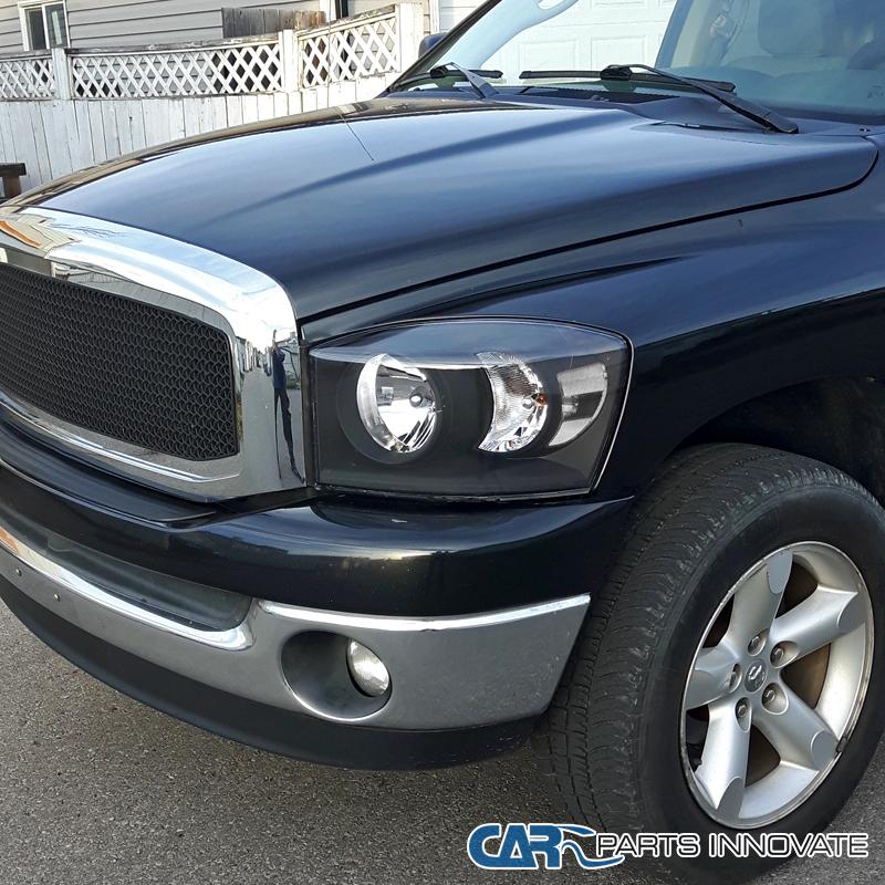 2006 2009 Dodge Ram 1500 Sinister Black 06 08 Ram 2500: DODGE 06-08 RAM 1500 2500 3500 BLACK CRYSTAL HEADLIGHTS