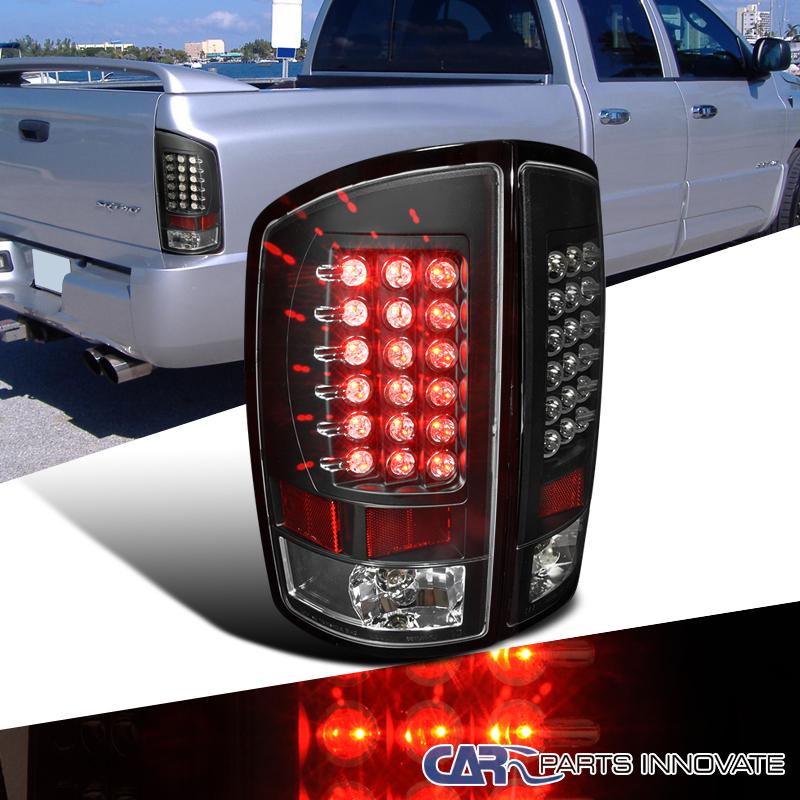 2002 2006 dodge ram 1500 2500 3500 pickup black led tail lights rear. Black Bedroom Furniture Sets. Home Design Ideas
