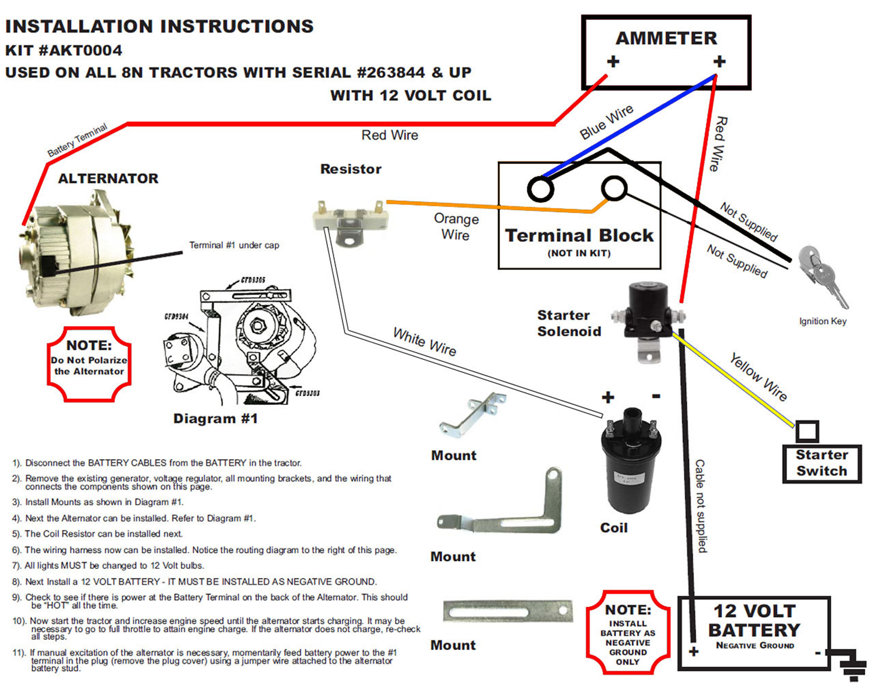 8n Wiring Diagram : New generator alternator fits conversion kit late model