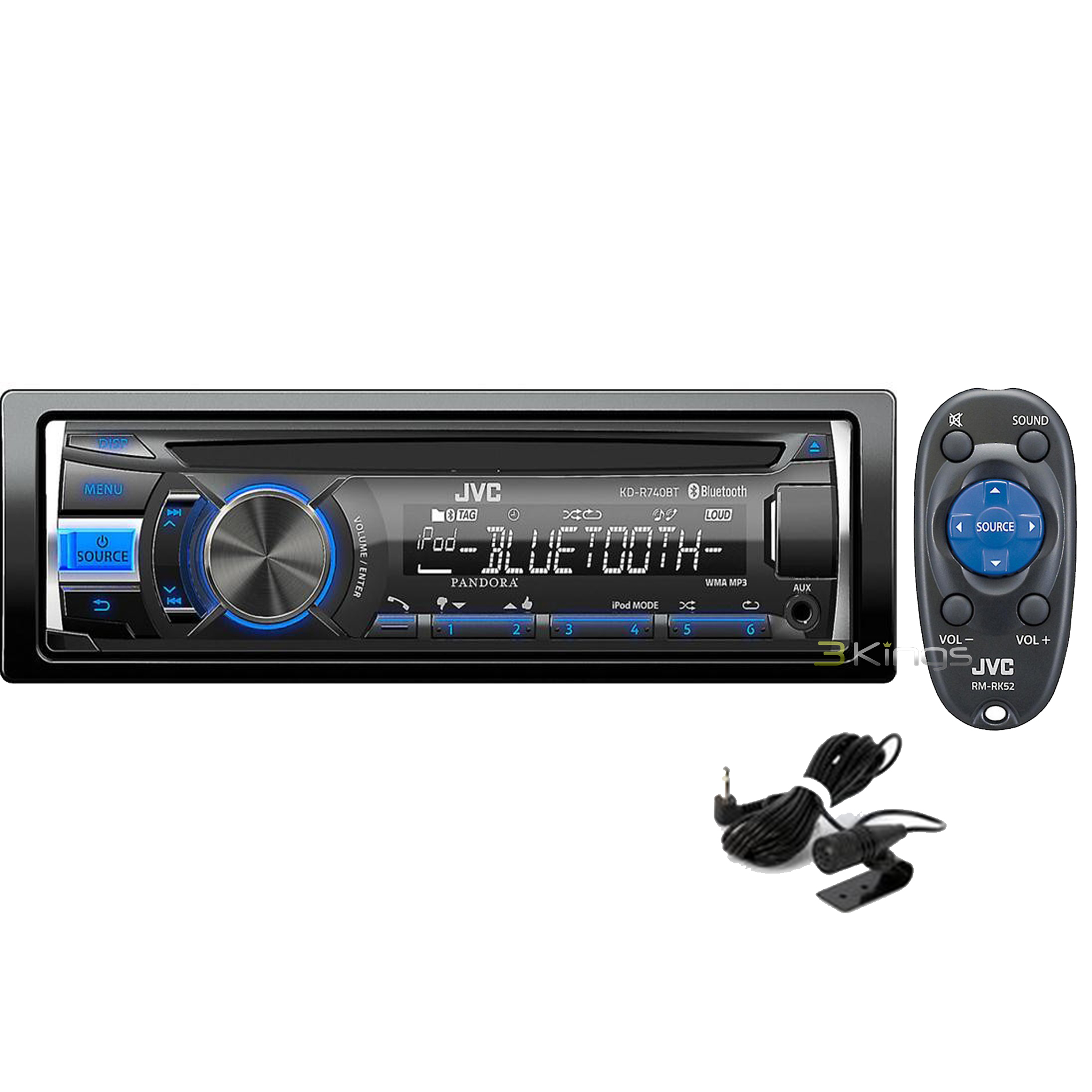 new jvc kd r740bt in dash cd mp3 car stereo receiver w. Black Bedroom Furniture Sets. Home Design Ideas