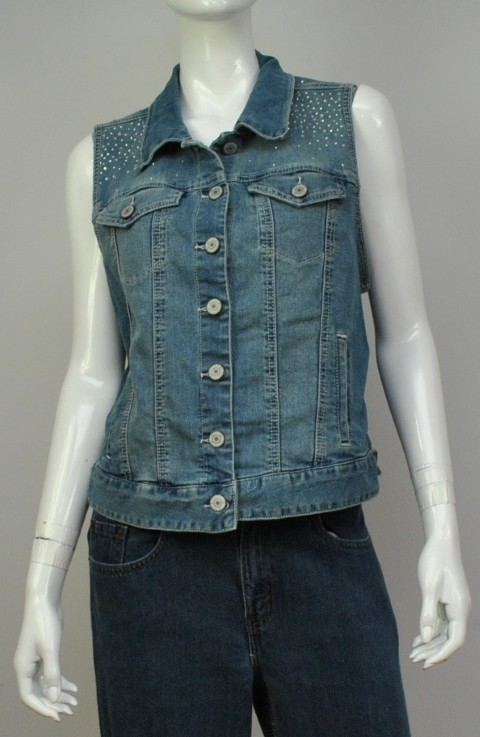 STYLE & CO. JEANS NEW STYLE & CO. JEANS WOMENS VEST JACKET BLUE JACKET L at Sears.com