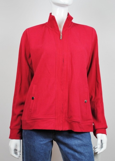 RELAXED BY CHARTER CLUB NEW RELAXED BY CHARTER CLUB WOMEN'S FULL ZIP RED SWEATER L at Sears.com