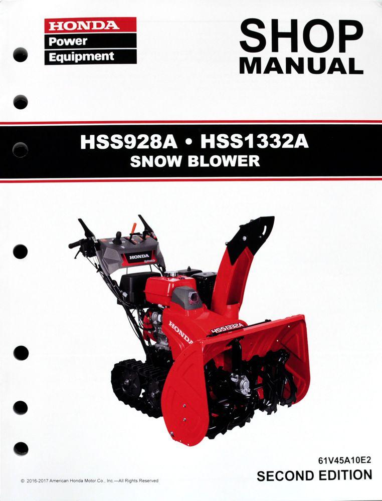 Honda Hss928 Hss1332 Snow Blow Throw Service Repair Shop