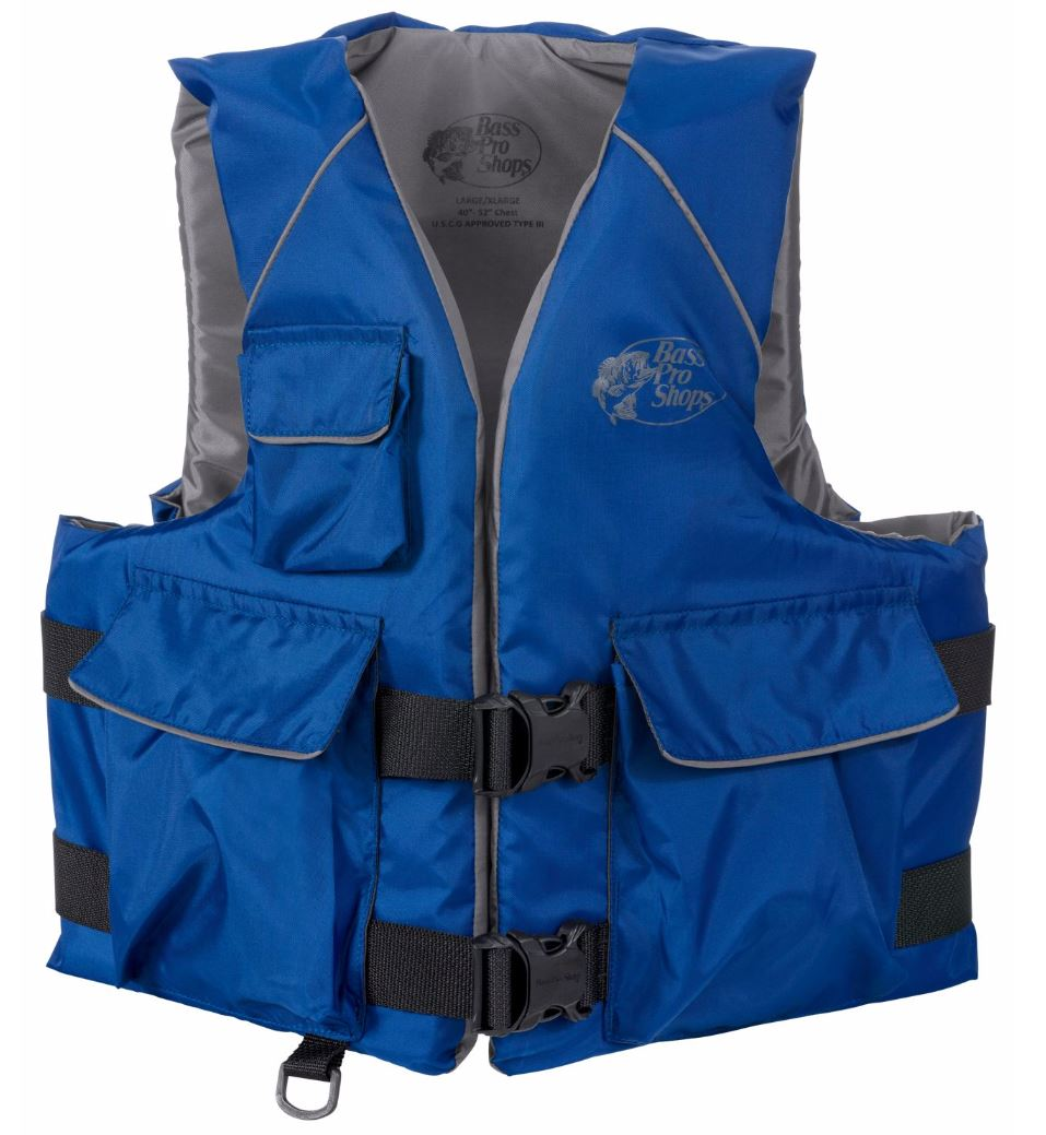 Bass pro shops nylon sport life jacket vest pfd type iii for Bass fishing life jacket