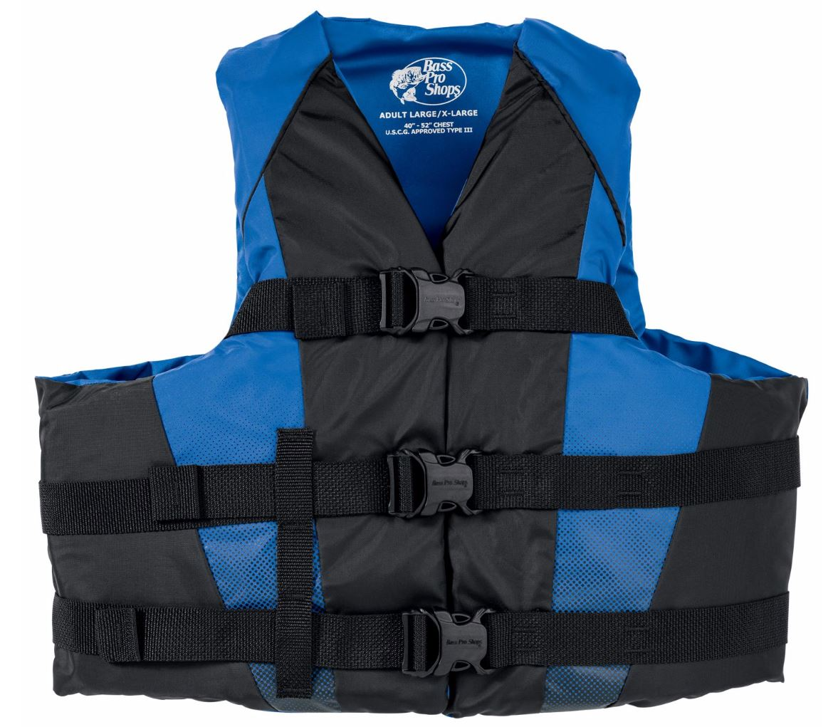 Bass pro shops nylon dual sized recreational life jacket for Bass fishing life jacket