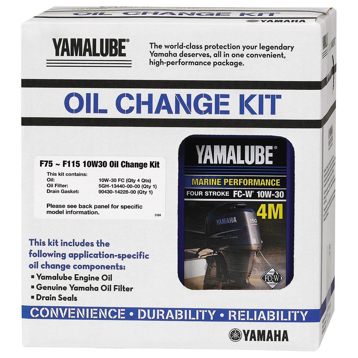 yamaha outboard f75 f115 10w 30 4m fc oil change kit lub
