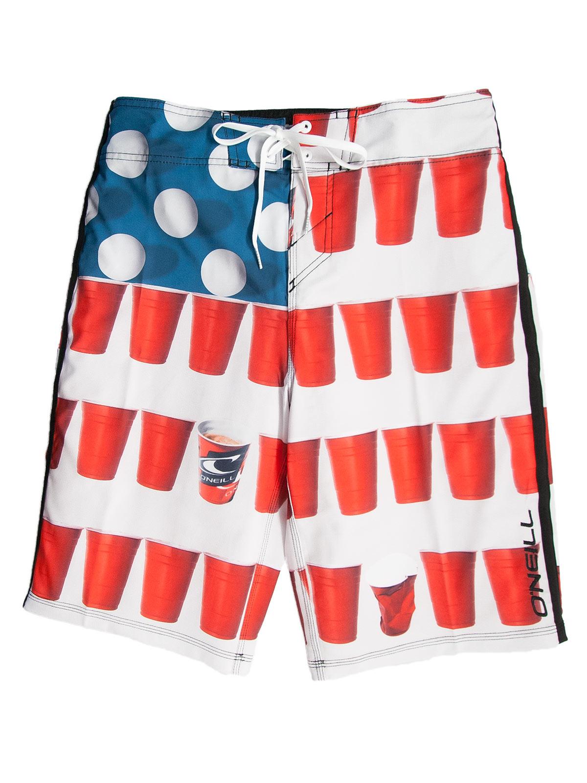 O'Neill Murca American Flag Beer Pong Boardshorts