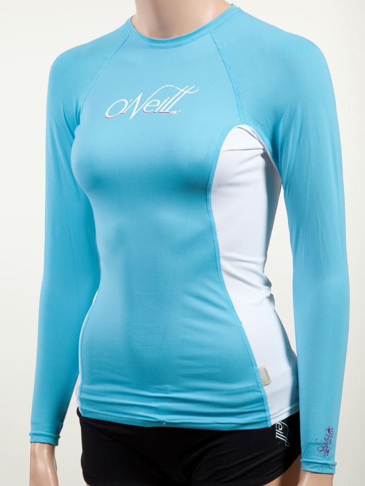 O 39 neill women 39 s long sleeve rashguard lycra shirt with 50 for Uv shirts long sleeve