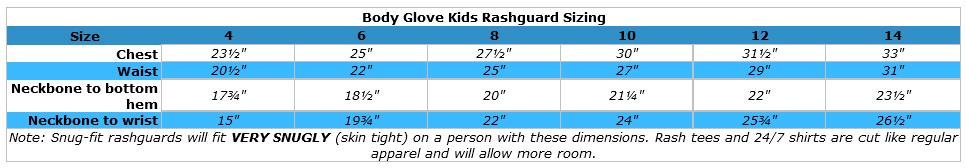 Body Glove Kids Short Sleeve Rashguard: Snug Fit Swim Shirt with UV Protection size chart