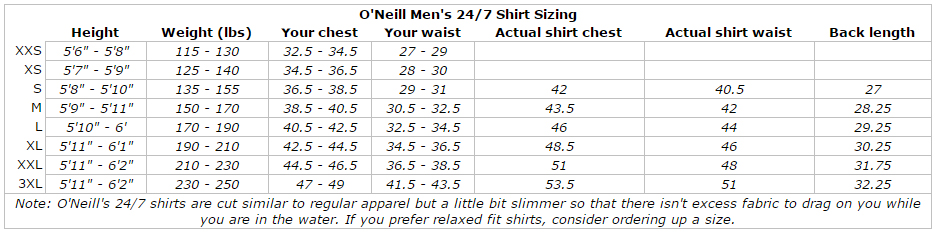 O'Neill Men's 24/7 Sun Tee: Looser Fit Breathable Rashguard Shirt UV Protection size chart