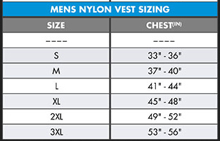 O'Neill Mens Superlite Life Vest Nylon US Coast Guard Approved Lifejacket size chart