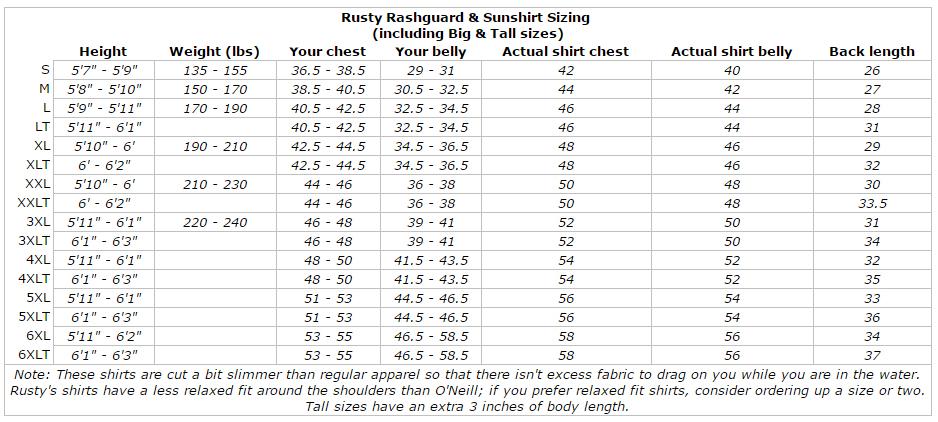 Rusty Shortsleeve Breathable Swim Sun Surf Shirt Rashguard (Standard & Big/Tall) size chart