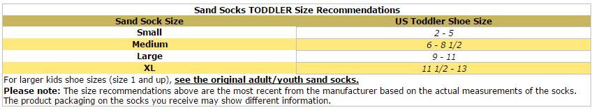 Vincere Sand Socks Soft-Soled Beach Socks (Toddler/Child) size chart
