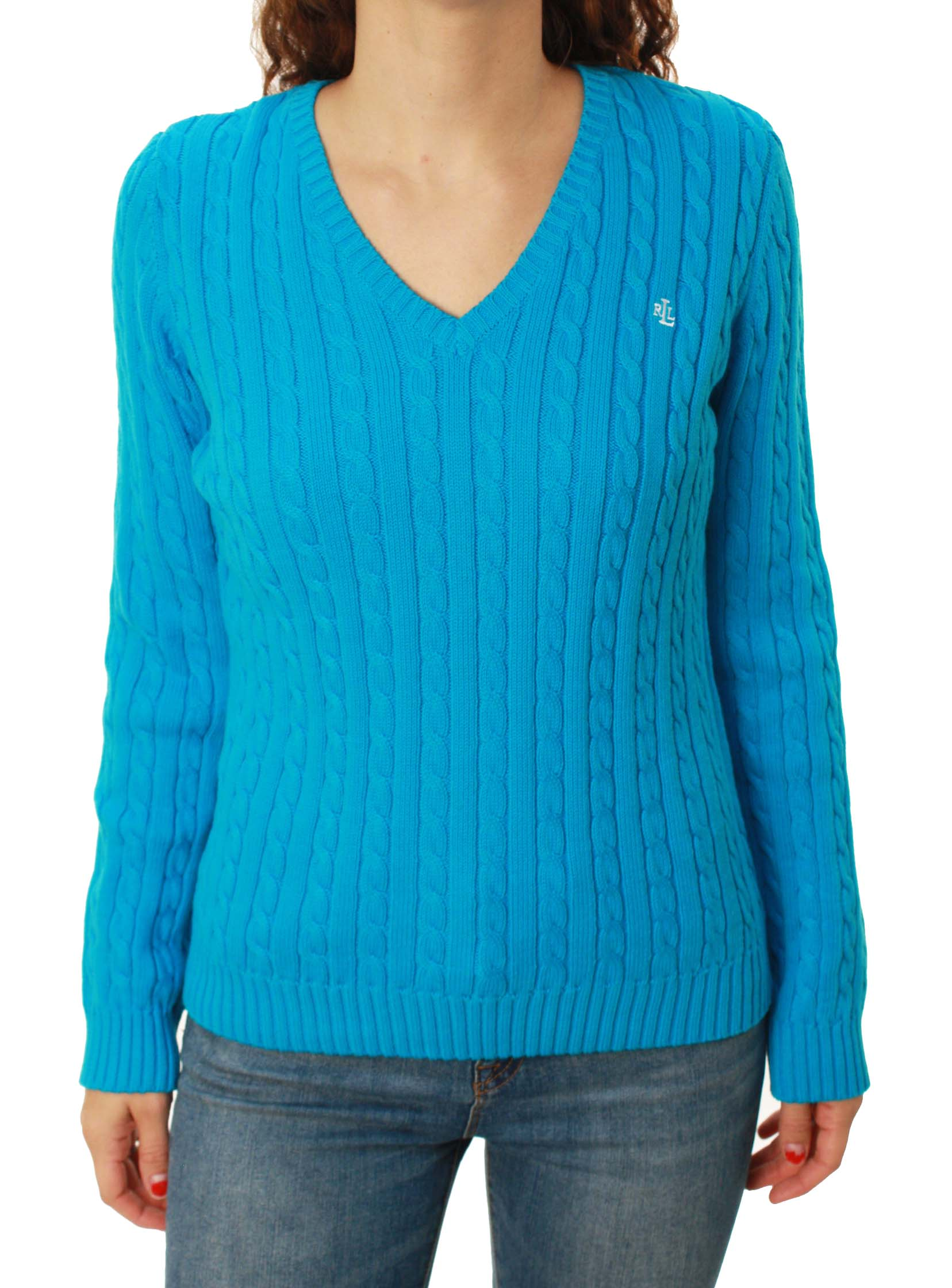 Ralph Lauren Green Label Women's Long Sleeve V-Neck Cable Knit Sweater at Sears.com