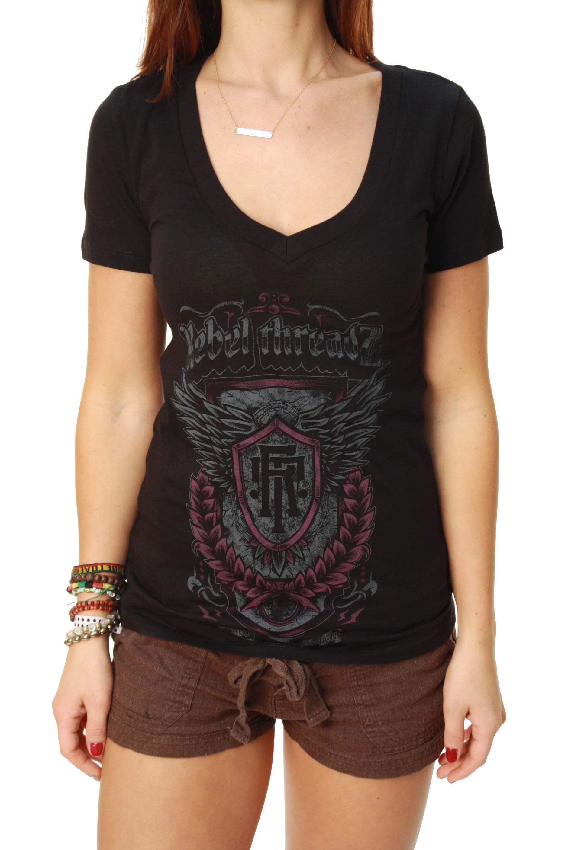 Outlaw Threadz Rebel Threadz Women's Junior Crest Graphic T-Shirt at Sears.com